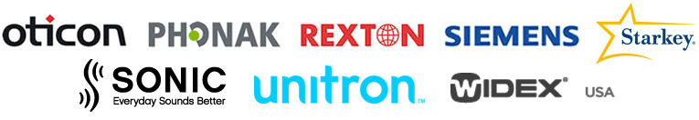We carry Oticon, Phonak, Rexton, Siemens, Starkey, Sonic, Unitron, and Widex brands.