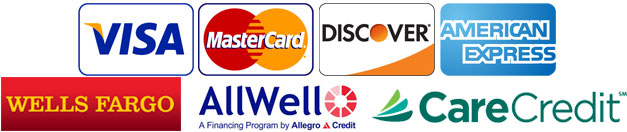 We Accept Visa, MasterCard, Discover, American Express and long term financing through Wells Fargo, Care Credit and AllWell.